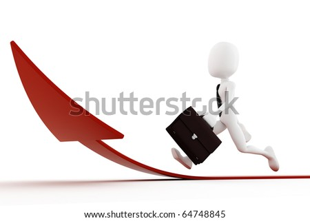 3d man running on a red arrow pointing up - stock photo