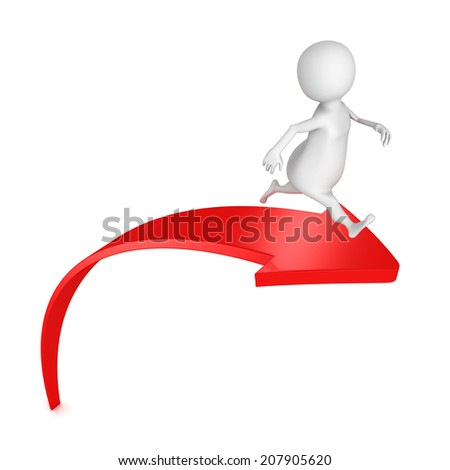 3d man running on red rising up arrow. success concept 3d render illustration - stock photo