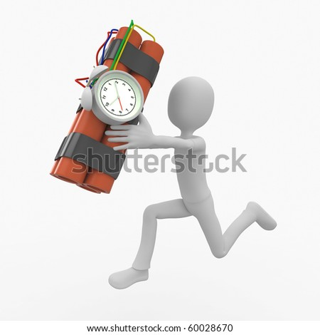 3d man running scared with time bomb - stock photo
