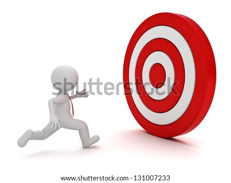 3d man running to the red target over white background