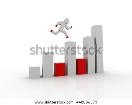 3d man running to the top of green business graph
