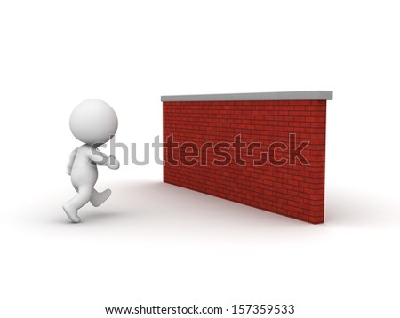 3D Man running toward brick wall