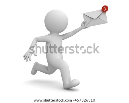 3d man running with email notification in his hand concept isolated on white background with shadow. 3D rendering.