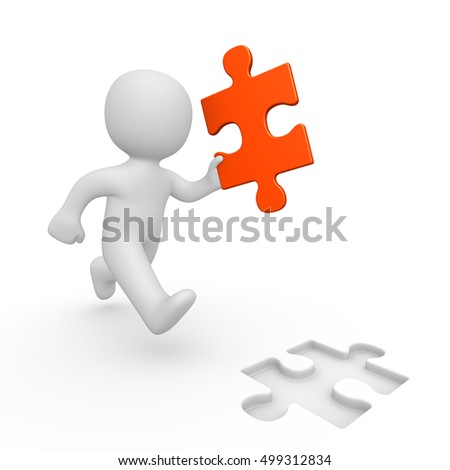 3d man running with puzzle piece. 3d render.