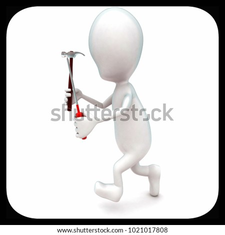 3d man running with spanner and screwdriver with hands concept in white isolated background - 3d rendering ,  side angle view