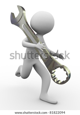 3d man running with wrench - stock photo