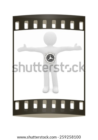 3D man - safe. The film strip - stock photo