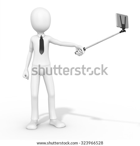 3d man selfie photo with smartphone on white background