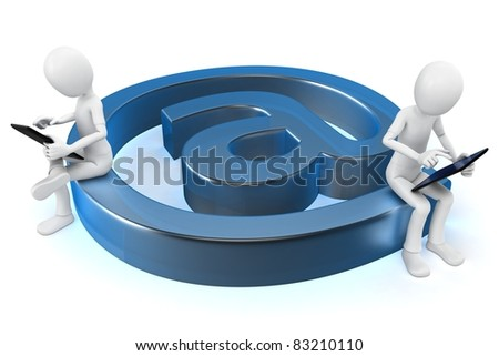 3d man sending email with a tablet pc on white background - stock photo