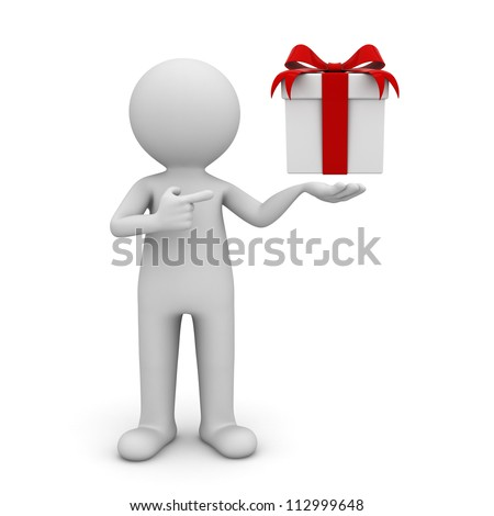 3d man showing gift box with red ribbon bow and pointing finger at it isolated over white background - stock photo