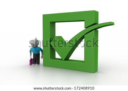 3d man showing green check mark in box - stock photo