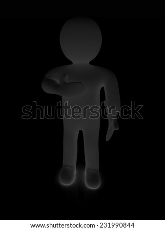 3d man showing her heartfelt gratitude holding her hand to her chest isolated on black. Series: human emotions - stock photo