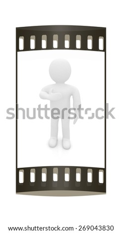 3d man showing her heartfelt gratitude holding her hand to her chest isolated on white. Series: human emotions. The film strip - stock photo