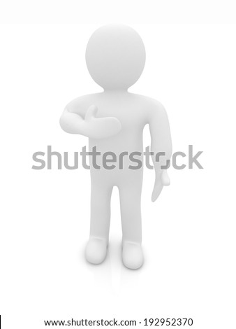 3d man showing his heartfelt gratitude holding his hand to his chest isolated on white. Series: human emotions - stock photo