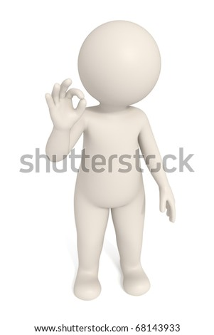 3d man showing OK sign - Isolated - DOF