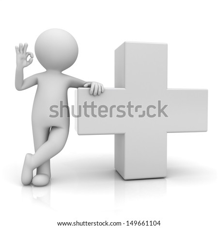 3d man showing okay gesture with white plus sign isolated over white background with reflection - stock photo