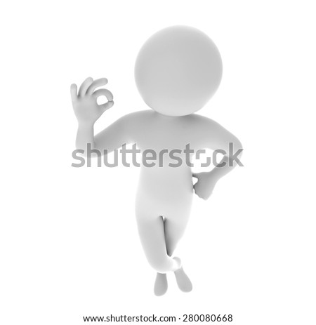 3d man showing okay hand gesture isolated on white background