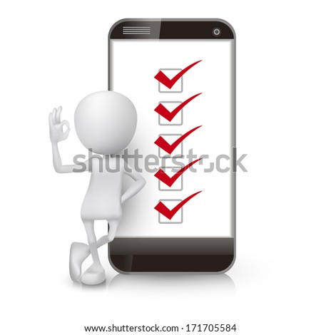 3d man showing okay hand sign with a mobile phone and check list - stock photo