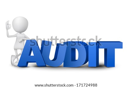 "3d man showing okay hand sign with a word ""audit"" - stock photo"