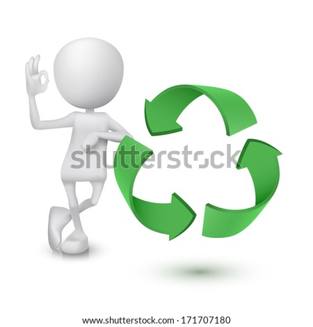 3d man showing okay hand sign with the recycling symbol - stock photo