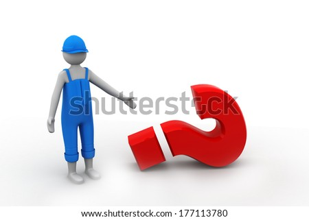 3d man showing question mark - stock photo