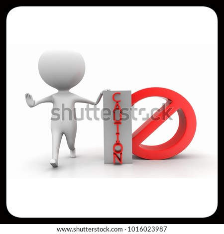 3d man showing restricting with his hands and presenting caution concept  on white background , front angle view