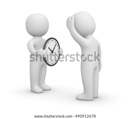 3d man showing the watch to another person. 3d render.