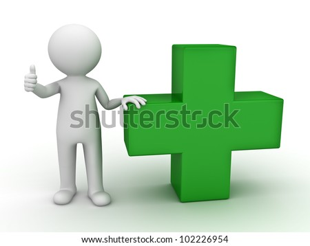3d man showing thumb up with green plus sign on white background - stock photo