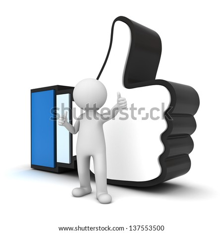 3D Man showing thumb up with like hand symbol over white background - stock photo