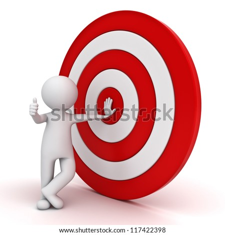 3d man showing thumb up with red target over white background - stock photo