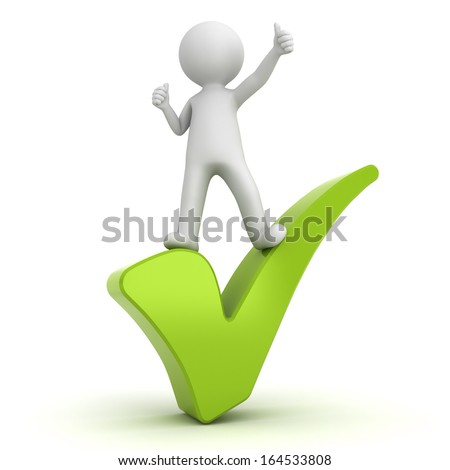 3d man showing thumbs up on green check mark over white background - stock photo