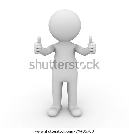 3d man showing thumbs up on white background - stock photo