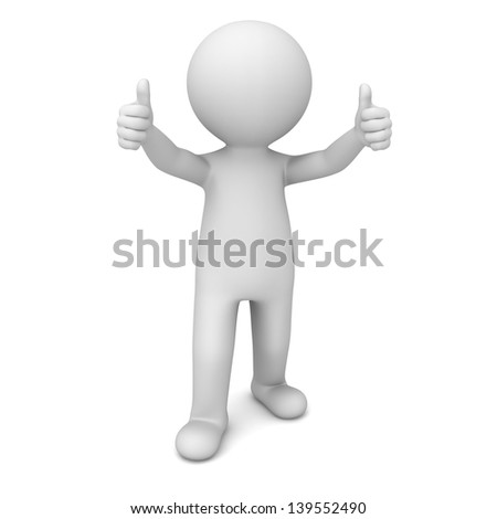 3d man showing thumbs up over white background - stock photo