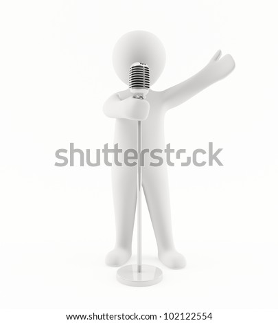 3D man singing on a microphone - stock photo