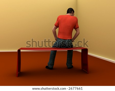 3d man sits facing wall in empty room - stock photo