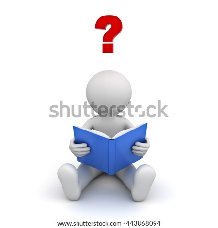 3d man sitting and reading a book with red question mark isolated over white background. 3D rendering. - stock photo