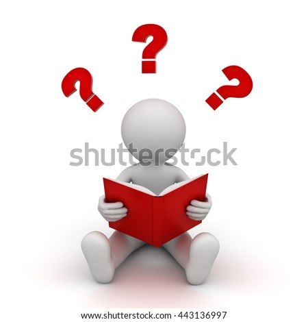 3d man sitting and reading a red book with question marks isolated over white background. 3D rendering.