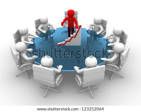3D man sitting at a round table and having business meeting - 3d render
