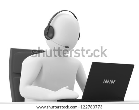 3d Man Sitting at the Table with Laptop