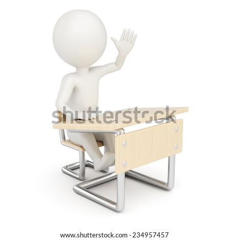 3D man sitting behind school desk isolated on white background