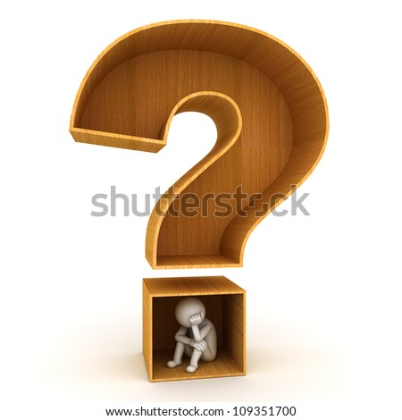 3d man sitting in wood question mark on white background - stock photo