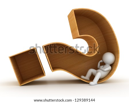 3d man sitting in wooden question mark box over white background - stock photo