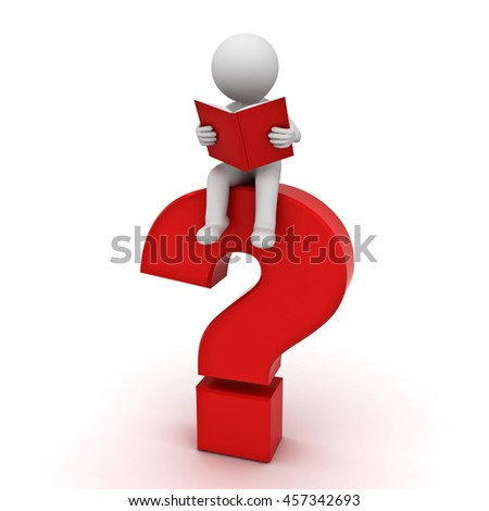 3d man sitting on a big red question mark and reading a book  isolated over white background with shadow. 3D rendering.