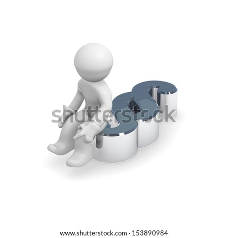 3d man sitting on a paragraph icon - stock photo