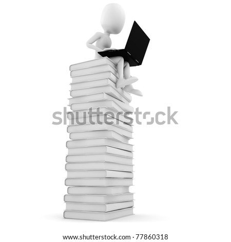 3d man sitting on a pile of books  working at his lapop - stock photo