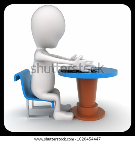 3d man sitting on chair and paper sheets on table in front of him concept in white isolated background , front angle view