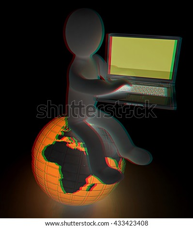 3d man sitting on earth and working at his laptop on a black background. 3D illustration. Anaglyph. View with red/cyan glasses to see in 3D. - stock photo