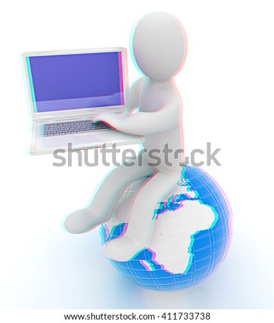 3d man sitting on earth and working at his laptop on a white background. 3D illustration. Anaglyph. View with red/cyan glasses to see in 3D. - stock photo