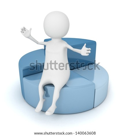 3d man sitting on financial pie chart diagram