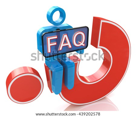 3d man sitting on red question mark holds a placard with the word faq in the design of the information related to the Frequently Asked Question. 3d illustration - stock photo